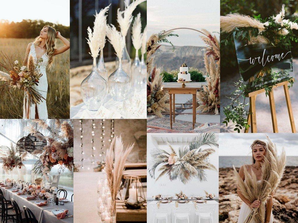 Dekoracje ślubne 2020 - trawy pampasowe