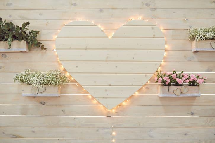 serce drewniane wesele w stylu rustykalnym