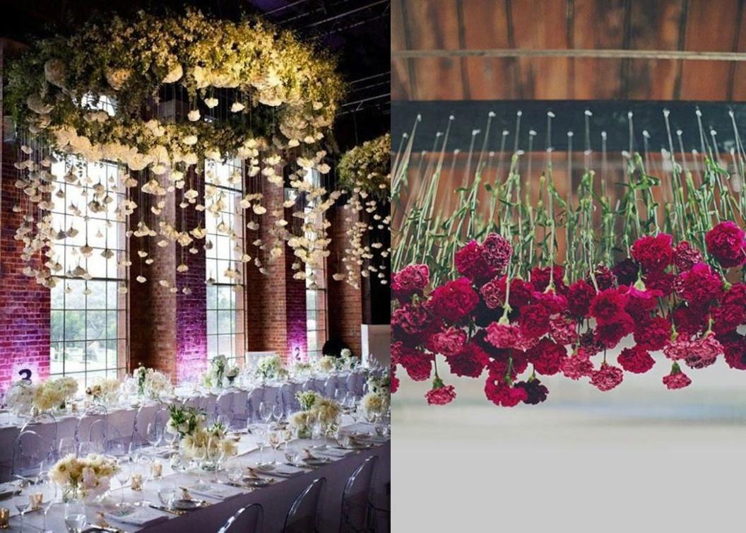 Dekoracje weselne podwieszone pod sufitem -kwiaty - zdjęcie 1