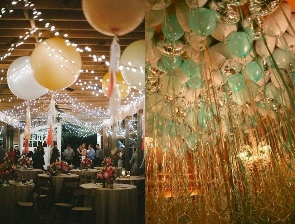 Dekoracje weselne podwieszone pod sufitem - balony - zdjęcie 10