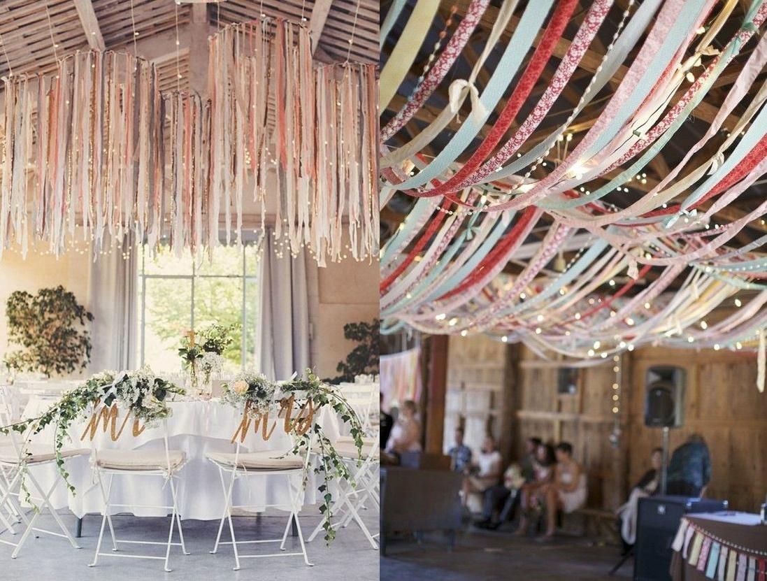 Dekoracje weselne podwieszone pod sufitem - wstążki - zdjęcie 11