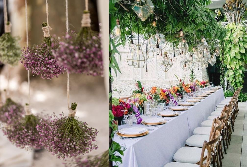 Dekoracje weselne podwieszone pod sufitem - zieleń -zdjęcie 2