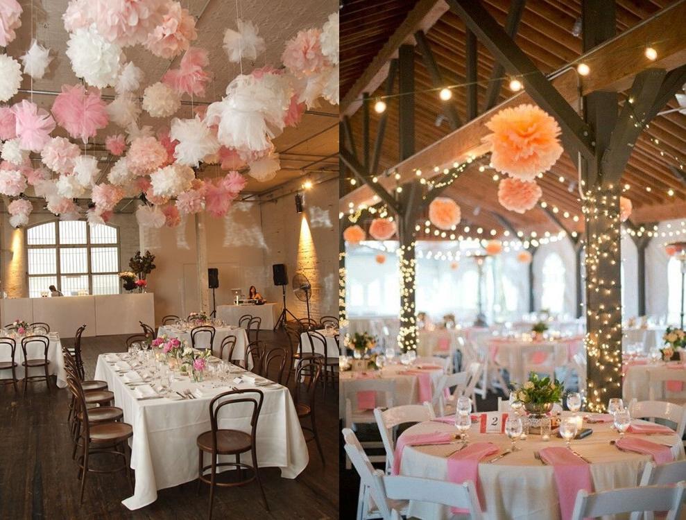 Dekoracje weselne podwieszone pod sufitem - pompony - zdjęcie 3