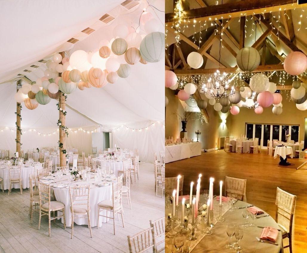Dekoracje weselne podwieszone pod sufitem - lampiony- zdjęcie 4