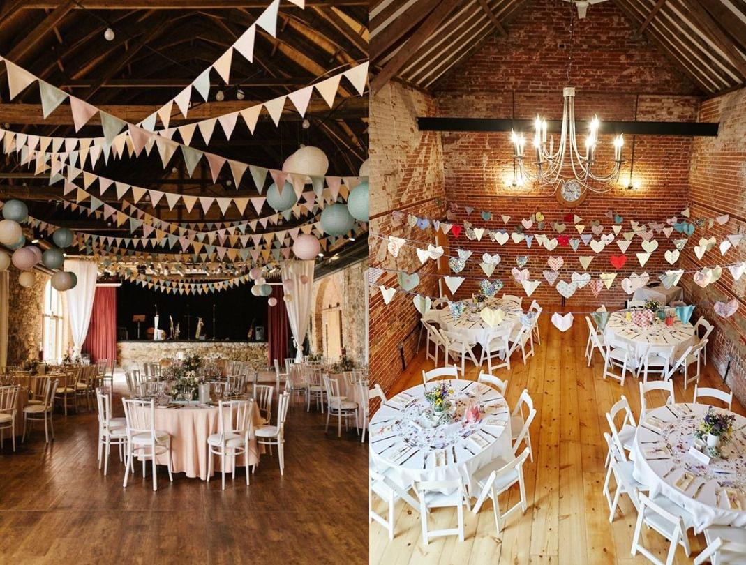 Dekoracje weselne podwieszone pod sufitem -chorągiewki - zdjęcie 7