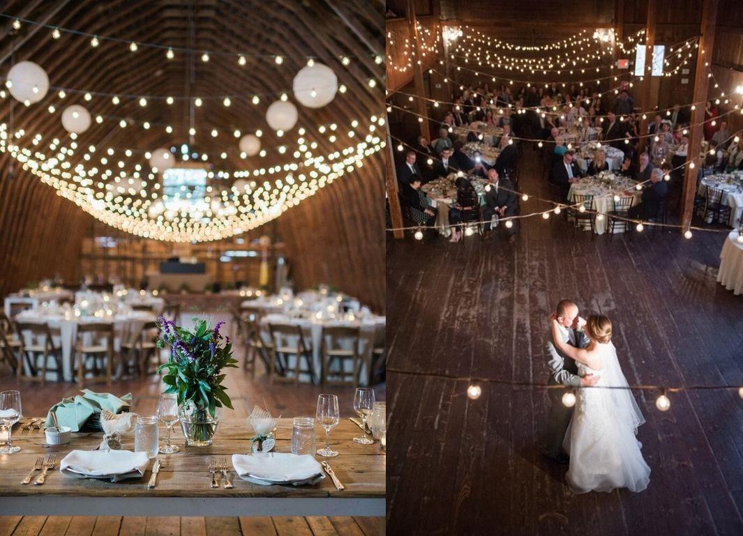 Dekoracje weselne podwieszone pod sufitem - lampki -zdjęcie 9