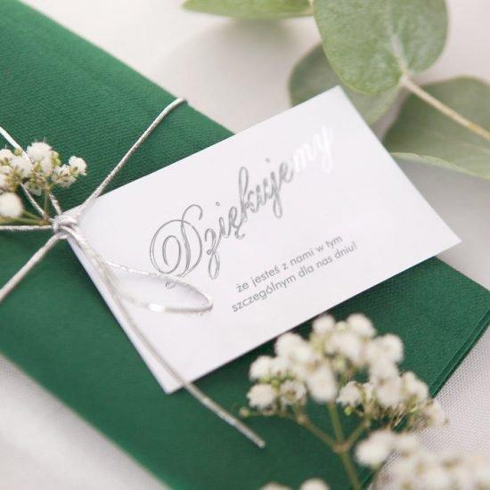 Srebrne dekoracje weselne - podziękowanie