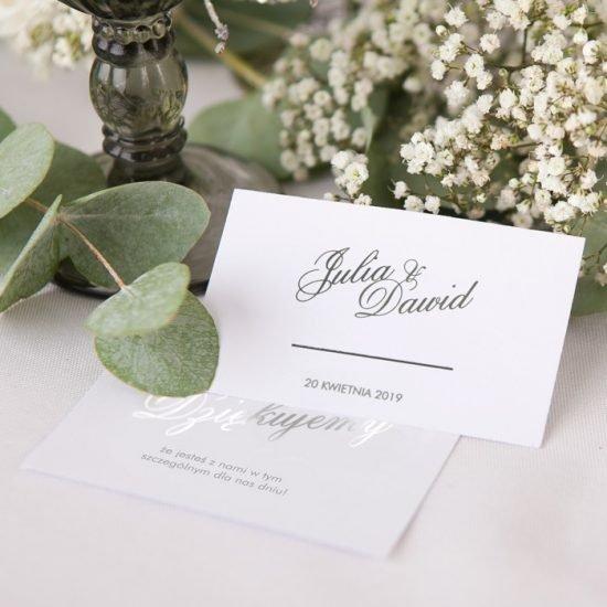 Srebrne dekoracje weselne - papeteria