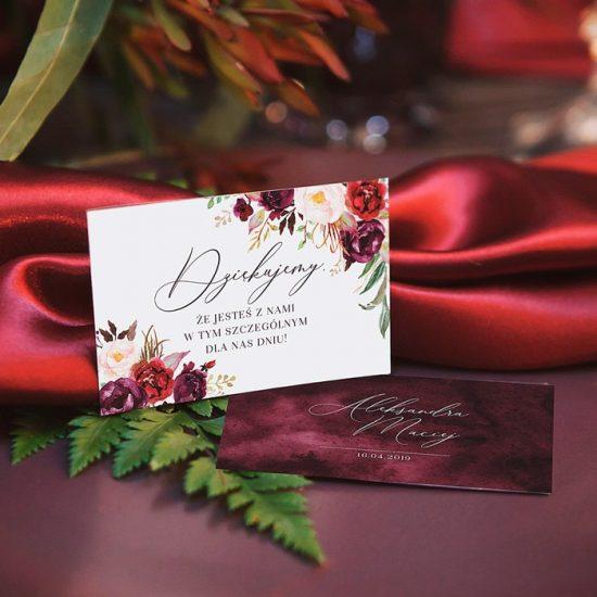 Bordowe dekoracje weselne - winietki
