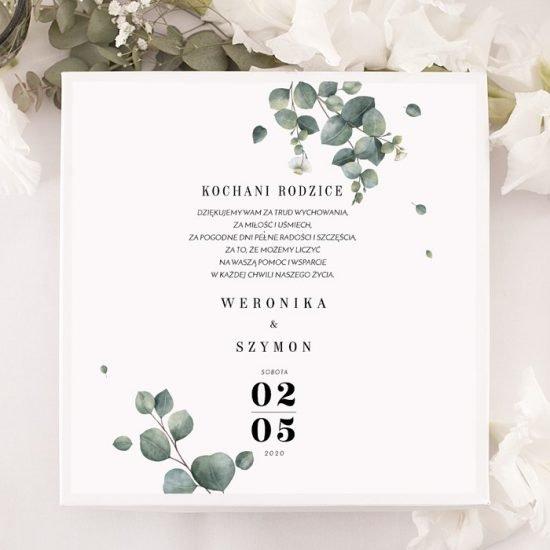 Dekoracje weselne z eukaliptusem - podziękowanie
