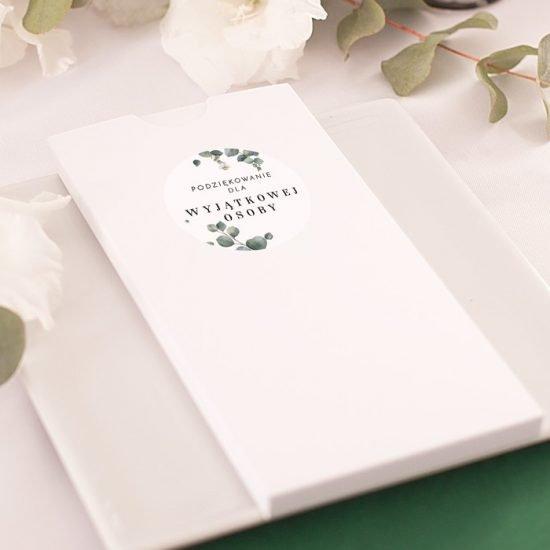 Dekoracje weselne z eukaliptusem - upominek dla gości