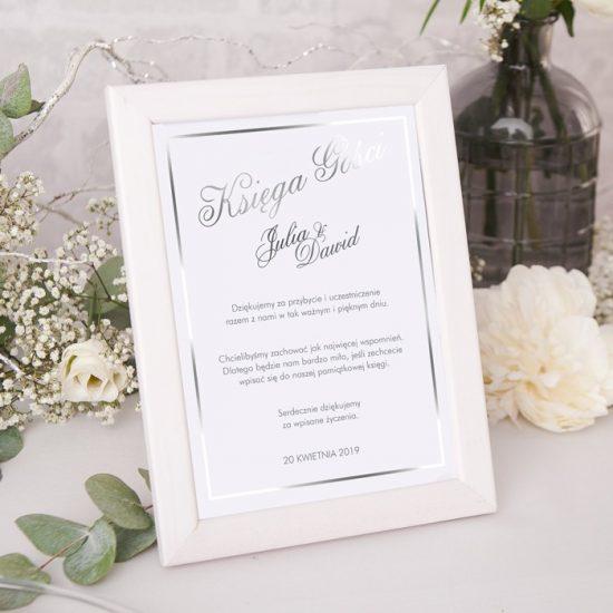 Srebrne dekoracje weselne - księga gości