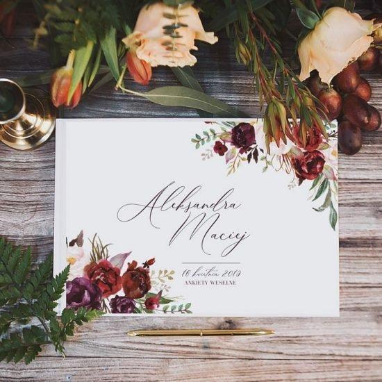 Bordowe dekoracje weselne - księga gości