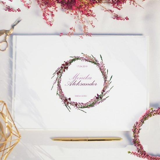 Dekoracje weselne z wrzosami - księga gości