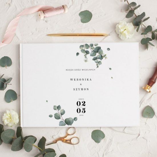 Dekoracje weselne z eukaliptusem - księga gości
