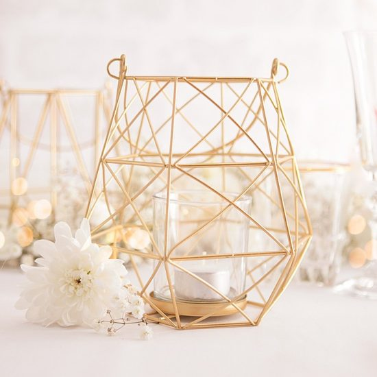 Dekoracje weselne w bieli i złocie - lampion