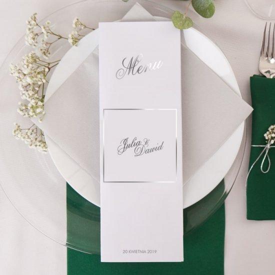 Srebrne dekoracje weselne - menu