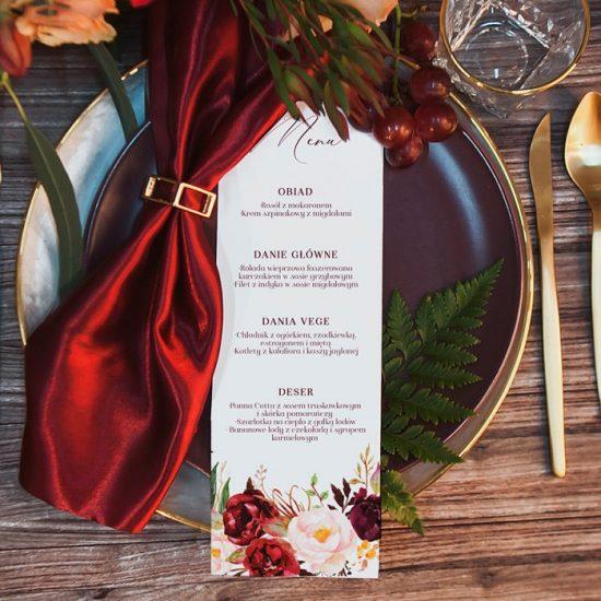 Bordowe dekoracje weselne - menu