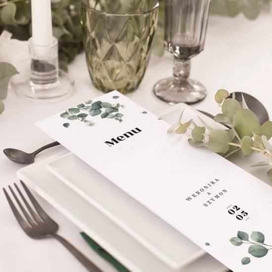 Dekoracje weselne z eukaliptusem - menu