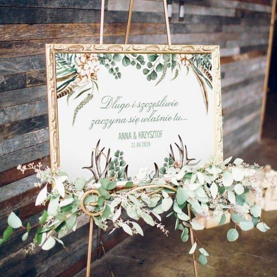 Dekoracje weselne w stylu boho - plansza powitalna
