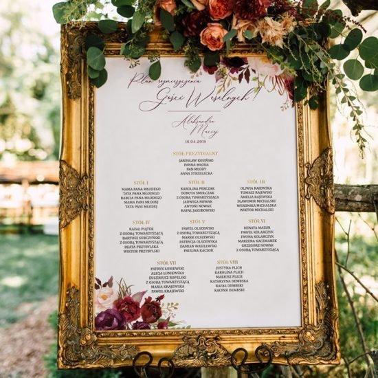 Bordowe dekoracje weselne