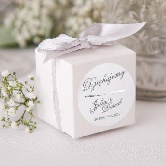 Srebrne dekoracje weselne - pudełeczko na prezent