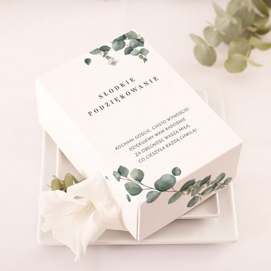 Dekoracje weselne z eukaliptusem - pudełko