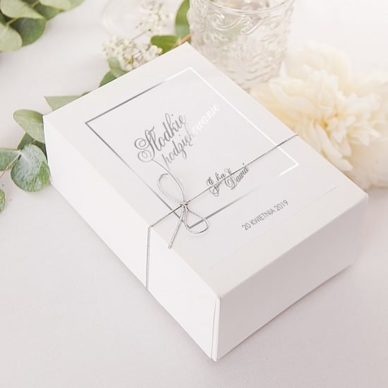 Srebrne dekoracje weselne - pudełko