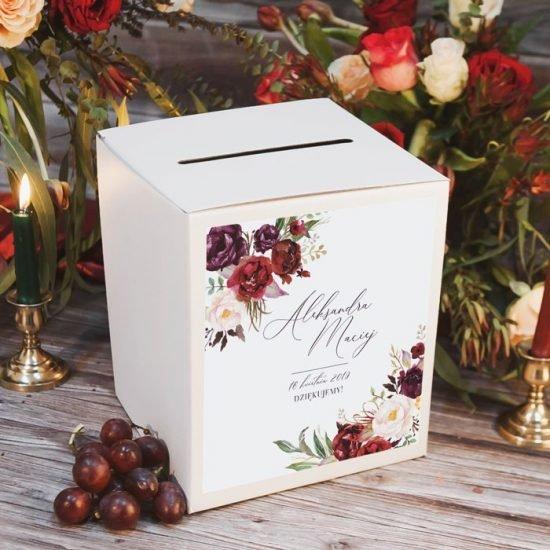 Bordowe dekoracje weselne - pudełko na koperty