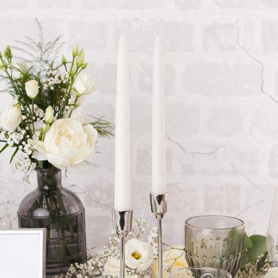 Srebrne dekoracje weselne - świece