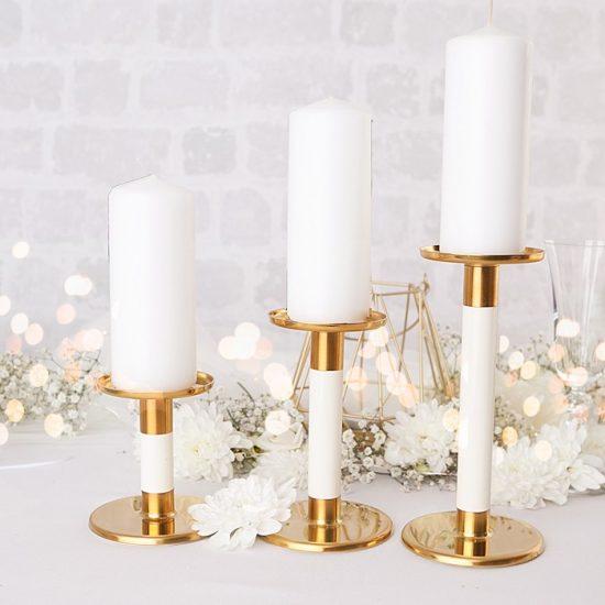 Dekoracje weselne w bieli i złocie - świece