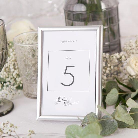 Srebrne dekoracje weselne - numer stołu