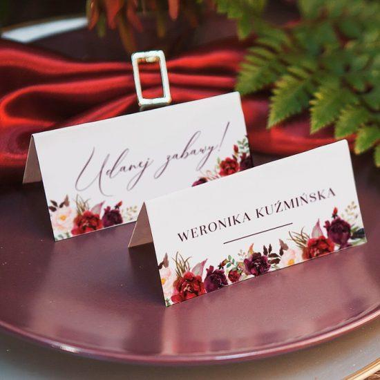 Bordowe dekoracje weselne - papeteria