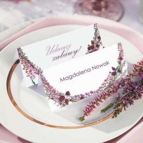 Dekoracje weselne z wrzosami - winietki