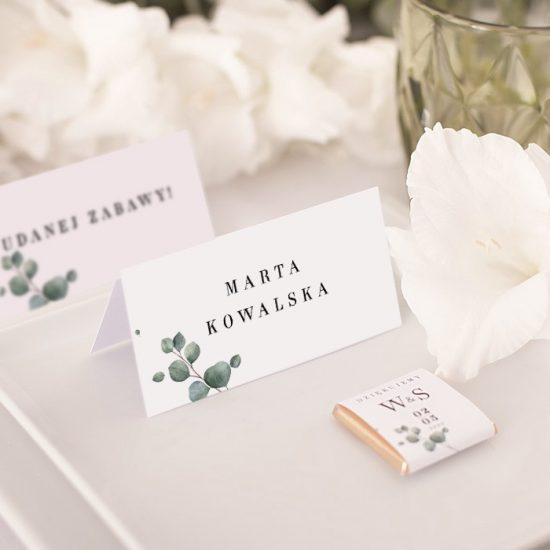 Dekoracje weselne z eukaliptusem - winietki