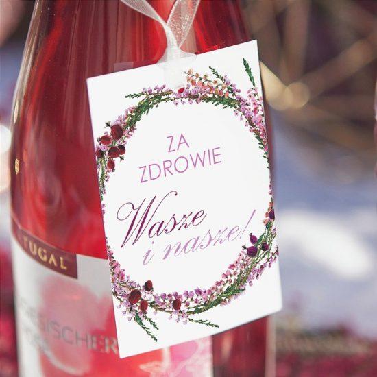 Dekoracje weselne z wrzosami - etykiety