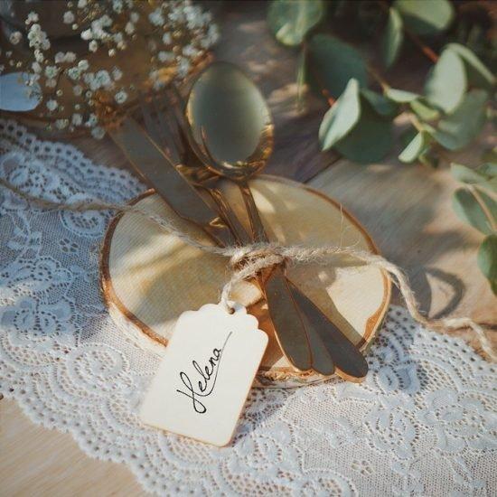 Dekoracje weselne w stylu boho - sztućce