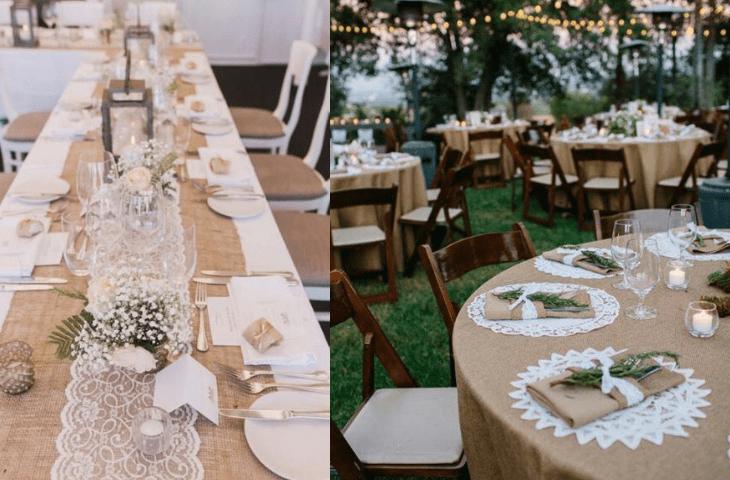 dekoracje weselne z juty - stoły
