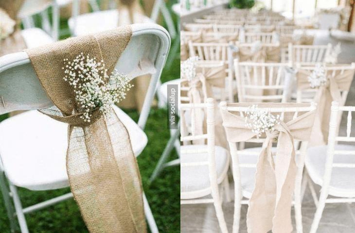 dekoracje weselne z juty - krzesła