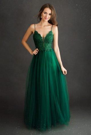 balowa sukienka maxi na ramiączkach