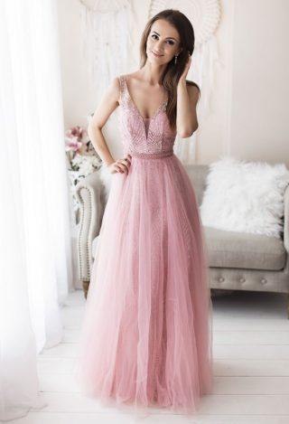 balowa sukienka pudrowy róż