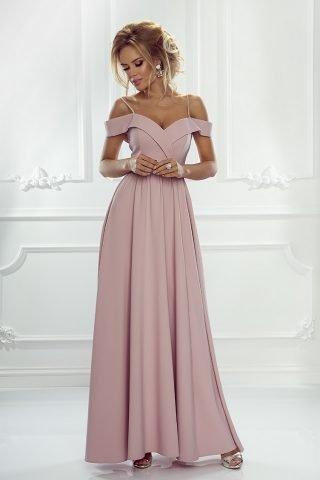 długa sukienka z dekoltem carmen