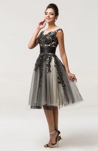 biało-czarna sukienka na wesele