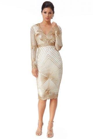 biało-złota sukienka na wesele