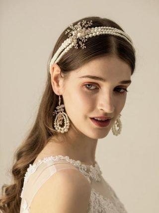 opaska ślubna z perłami