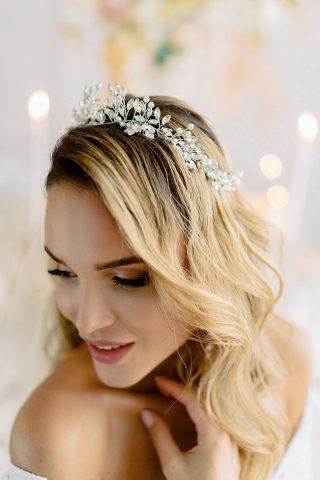 biżuteryjna tiara ślubna