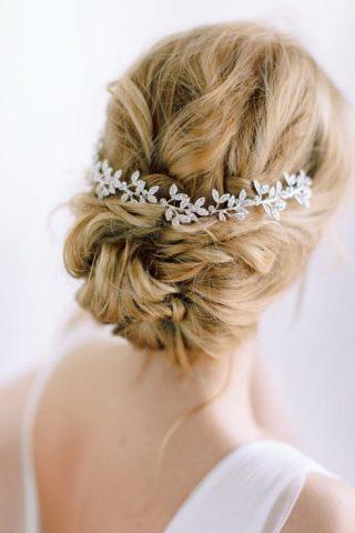 srebrna ozdoba do fryzury ślubnej