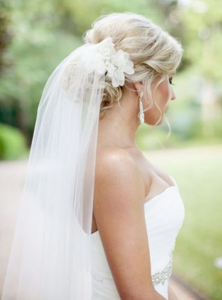 Fryzury ślubne 2020 - kok i welon
