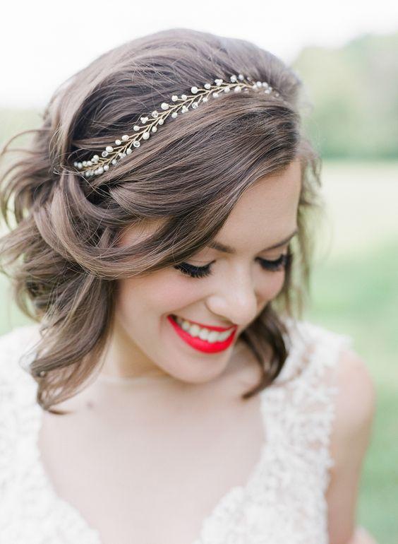 Klasyczny Bob Fryzury ślubne Dla Krótkich Włosów