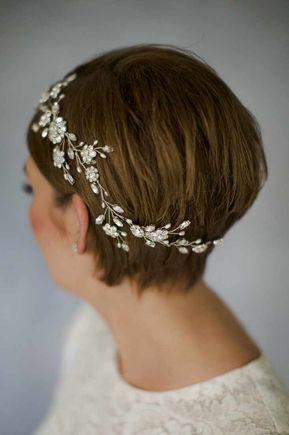 Cienkie krótkie włosy - fryzura ślubna